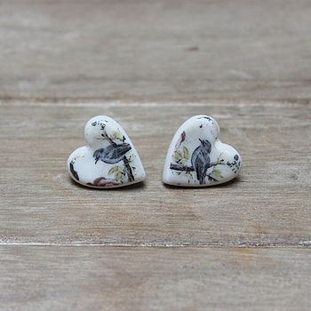 Porcelain heart blue bird earrings