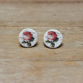 Porcelain round rose earrings