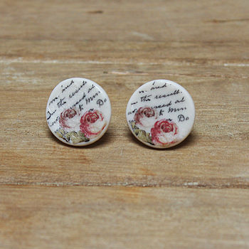 Porcelain round rose and writing earrings