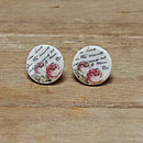 Porcelain Rose And Writing Earrings