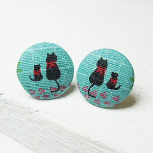 Cat Fabric Button Earrings - women's jewellery