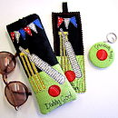 Personalised Gifts from the Cricket Range, Kindle Case, Glasses Case, Bookmark & Keyring