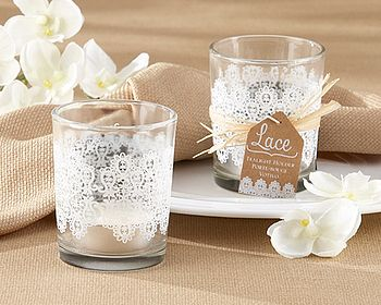 Set Of Four 'Lace' Glass Tea Light Holder