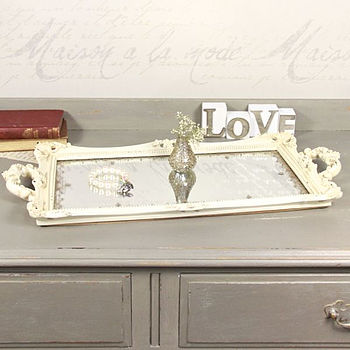Vintage Style Large Cream Mirrored Tray