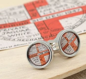 Personalised Tax Disc Cufflinks Pre 1960's