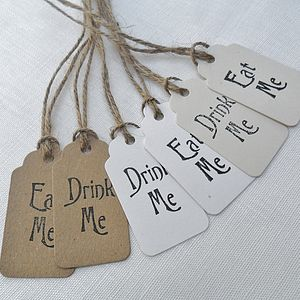 Pack Of Five 'Eat Me' Or 'Drink Me' Tags - shop by category