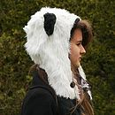 Panda Ears Faux Fur Hood And Scarf