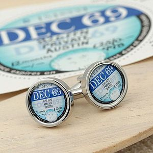 Personalised 1961 To 1977 Tax Disc Cufflinks - new in