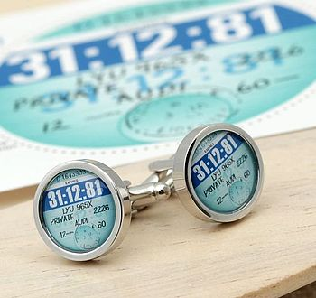 Personalised Tax Disc Cufflinks 1978 To 1986