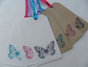 Six Butterfly Gift Wishing Tree Tags - wedding favours