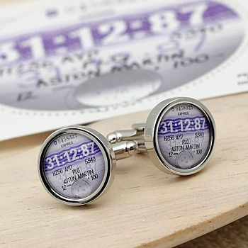 Personalised Tax Disc Cufflinks 1987 To 1992