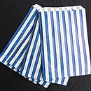 50 Blue Striped Paper Candy Sweet Bags