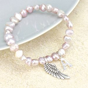 Charmed Pearl Bracelet With Large Initial - bracelets & bangles