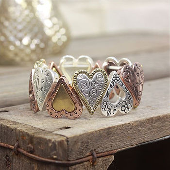 Mixed Metal Heart Bracelet