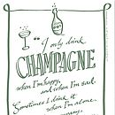 'Champagne' tea towel cut-out