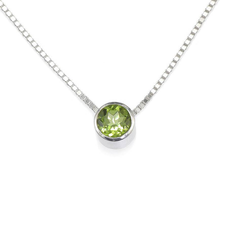 natural silver peridot necklace sterling necklaces in stm