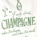 'Champagne' tea towel, pic detail