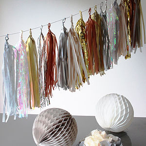 Handcut Luxury Metallic Tissue Tassel Garland - garlands, bunting & hanging decorations