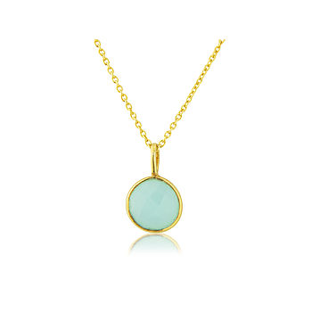 Aqua Chalcedony Drop And Gold Vermeil Pendant