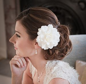 Royal Gardenia Wedding Flower Hair Clip - hats, hairpieces & hair clips