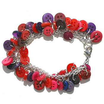 Pinks And Purples Button Bracelet