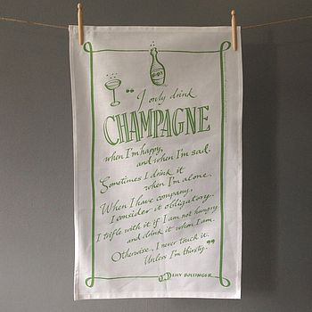 'Champagne' quote tea towel