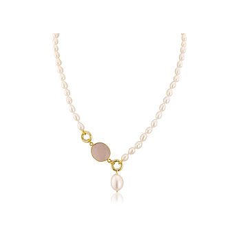 St Lucia Rose Quartz And Pearl Drop Necklace