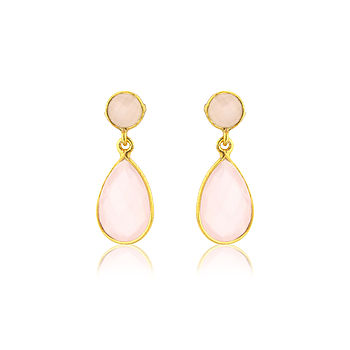 Pink Chalcedony And Gold Vermeil Earrings