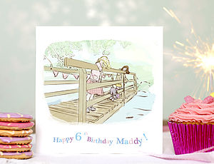 Personalised Girls Birthday Card 'Poohsticks' - birthday cards