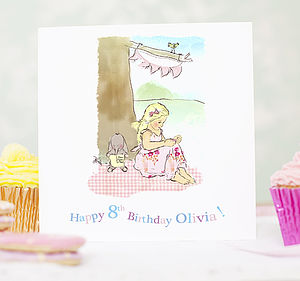 Personalised Girl's Birthday Card 'Reading' - personalised birthday gifts