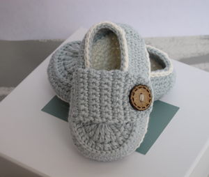 Hand Crochet Bamboo Baby Shoes - christening wear
