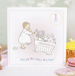 Personalised First Birthday Card 'Pink' - children's birthday cards