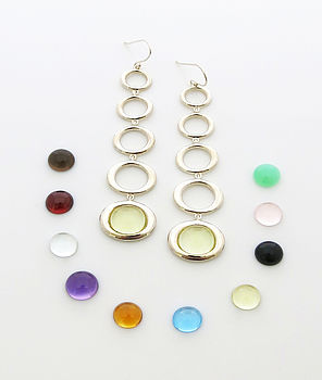 Sterling Silver Gemstone Five Drop Earrings