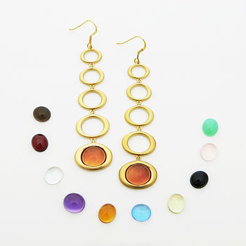 Gold Vermeil Gemstone Five Drop Earrings