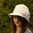 Packable Cloche Style Hat With Chiffon Flower