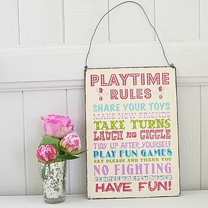 'Playtime Rules' Hanging Sign - children's decorative accessories