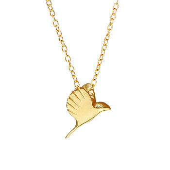 18k Gold Plated Sterling Silver Tiny Bird Necklace