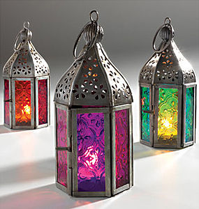 Moroccan Coloured Glass Lantern - outdoor lights & lanterns