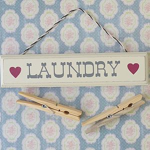 'Laundry' Wooden Hanging Sign