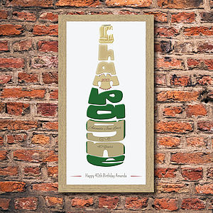 Personalised Celebration Champagne Print - posters & prints