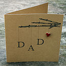 Handmade 'Dad' Fishing Card With Ceramic Heart Detail