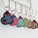 Wide Heart Fabric Key Ring