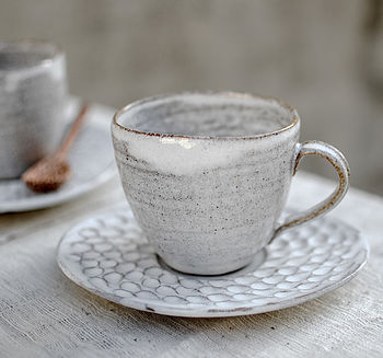 Ceramic Oval Teacup And Saucer Set