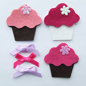 Set Of Three Felt Cupcakes