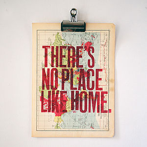 'No Place Like Home' Letterpress Print