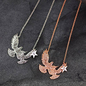 Hammered Metal Bird Necklace - necklaces