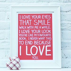 'I Love You' Poem Print