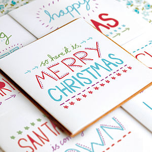 Hand Lettered Christmas Card Set - seasonal cards