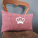 Vintage Inspired Woollen Crown Cushion