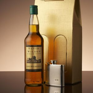 Personalised Whisky With Engraved Hip Flask - food & drink gifts